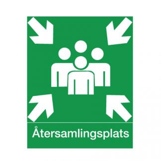 ÅTERSAMLINGSPLATS - A3, Plast Efterlysande För montage på vägg.