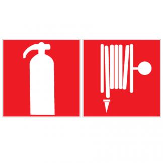 Brandsläckare på ena sidan och brandpost på den andra dubbelsidig skylt