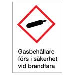 Gasbehållare skylt plast med text